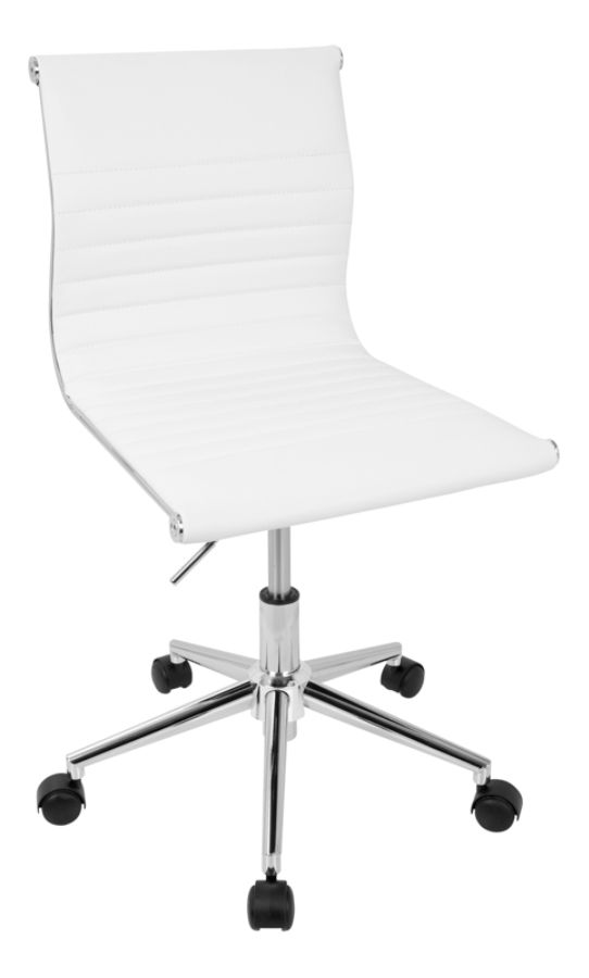 ergonomic chair settings back arch support for lumisource master faux leather contemporary armless adjustable task white chrome