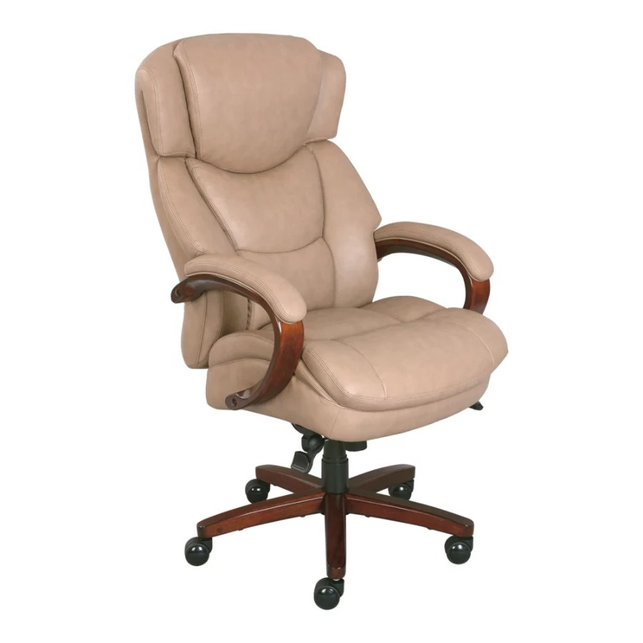 thomasville leather chair pink velvet rolling hudson taupewalnut office depot big and tall bonded high back taupe