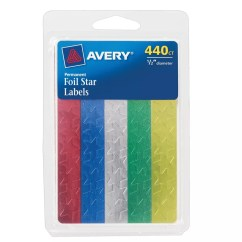 Avery's Chair Covers And More Tokuyo Massage Avery Foil Stars Assorted Colors 12 Diameter Pack Of 440 Office Depot 1 2