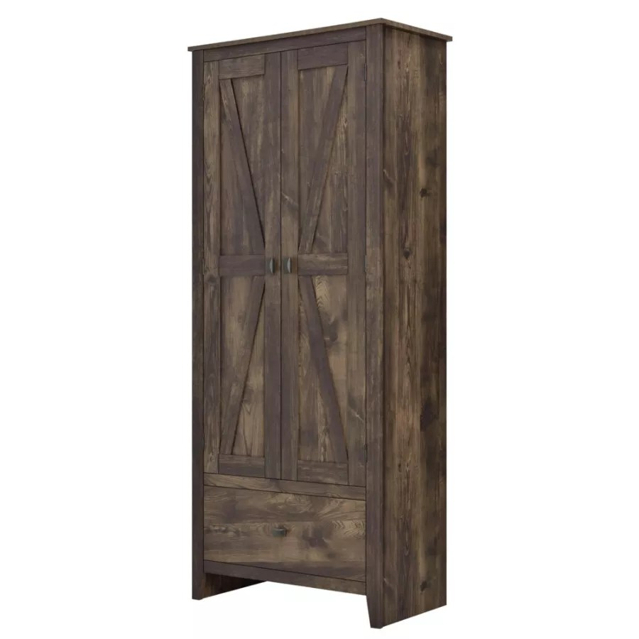 Ameriwood Home Farmington 30 Wide Storage Cabinet 4 Shelves1 Drawer Rustic Woodgrain  Office Depot