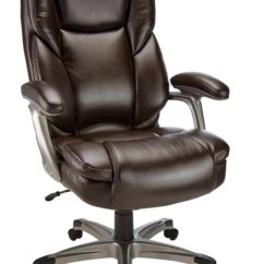 Desk Chair Brown Leather Covers For Furniture Realspace Cressfield Brownsilver Office Depot Bonded High Back Silver