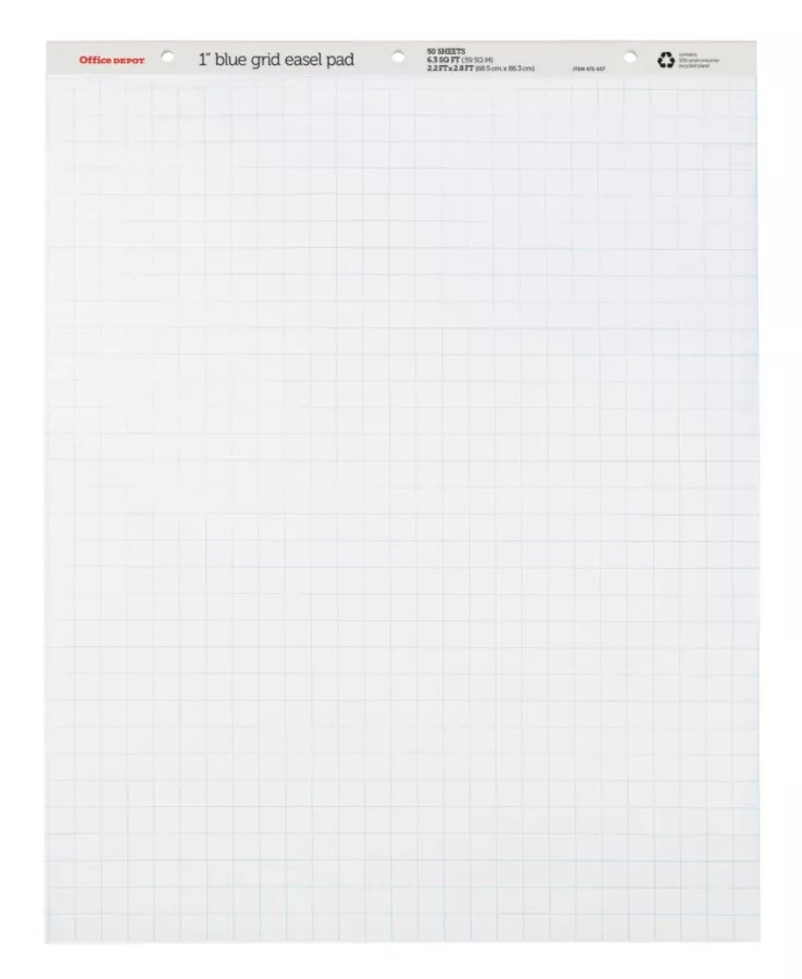 Office depot brand flip chart  grid sheets white pack of by  officemax also rh officedepot