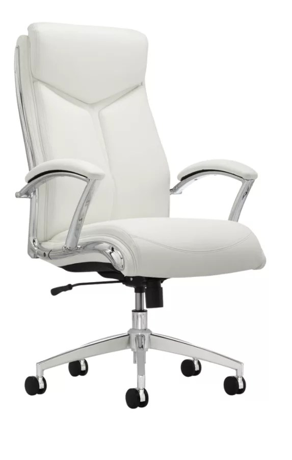 office chair high back floor protector realspace verismo bonded leather whitechrome white chrome