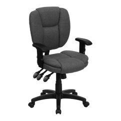 Office Chair With Adjustable Arms Teen Lounge Chairs Flash Furniture Fabric Mid Back Multifunction Ergonomic Swivel Task