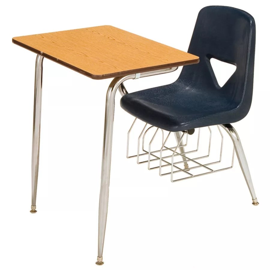 chair connected to desk buy covers scholar craft 620 series student combo navy with oak