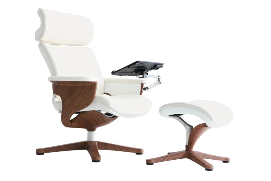 office lounge chair and ottoman cover rentals wilmington nc eurotech nuvem leather high back with whiteteak
