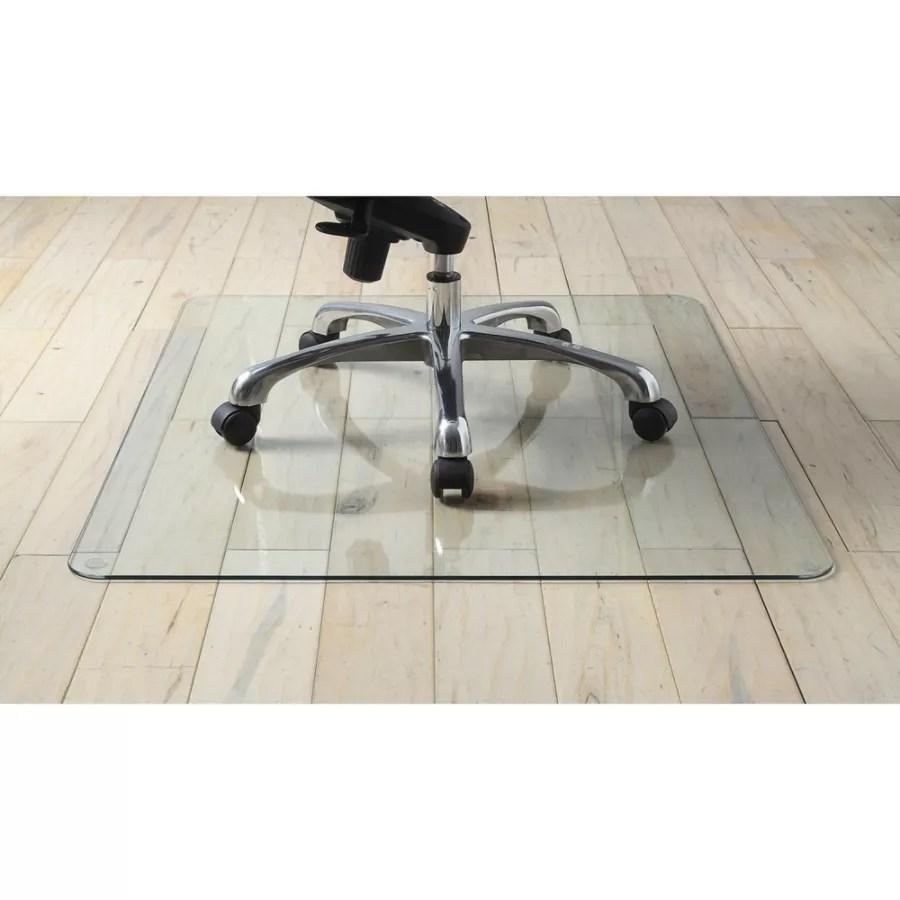 office max hardwood floor chair mat modern bar chairs south africa lorell tempered glass 48 x 60 clear depot