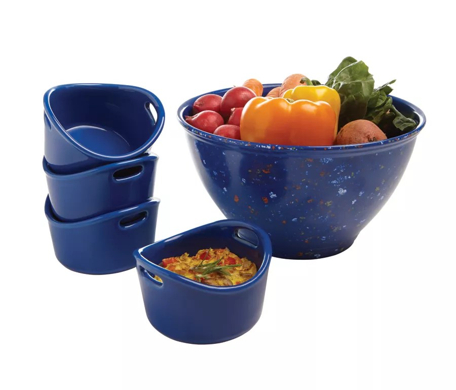 Rachael Ray Garbage Bowl And Ramekins Set 10 Oz Blue By Office Depot Amp OfficeMax