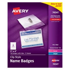 Avery's Chair Covers And More Zero Gravity Sale Avery Clip Style Name Badges Top Loading 3 X 4 Box Of 100 Office Depot