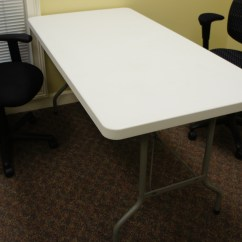 Folding Chair Liquidation High Back Go Anywhere 2 Table 72 W X 30 D White 6 Tables Total