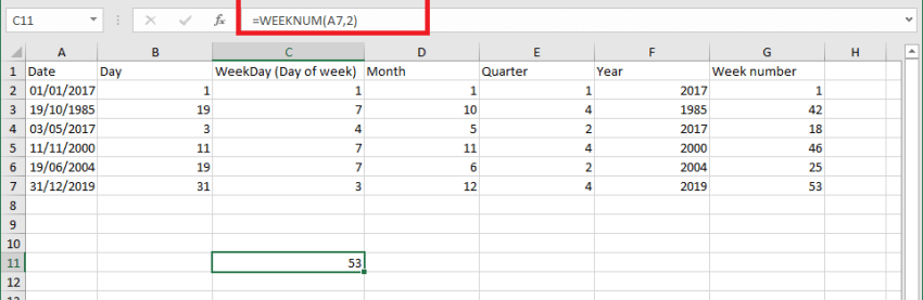 Excel How To - Month from date. Week from date
