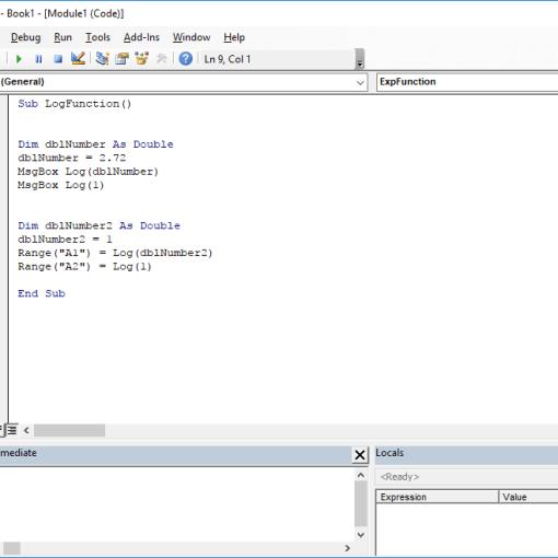 Excel VBA functions - Log VBA function