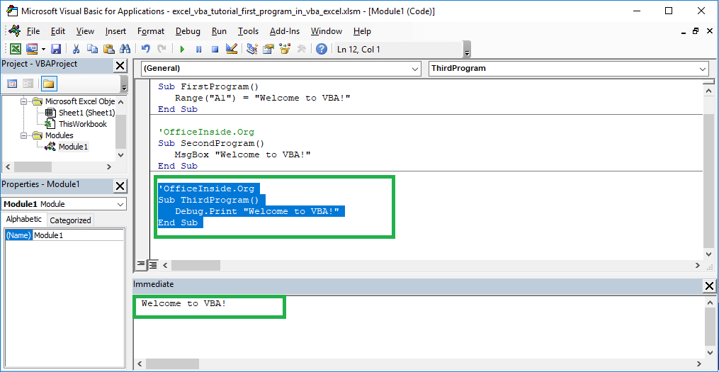 Excel VBA course - Debug print command and immediate window in VBA Excel
