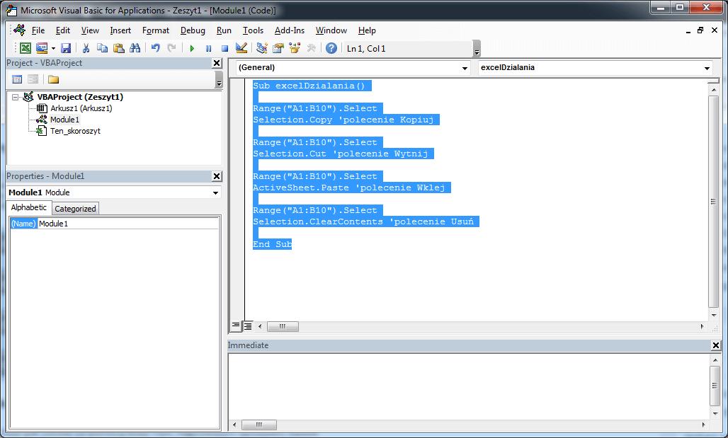 Excel VBA course - Basic activities in Excel VBA worksheet