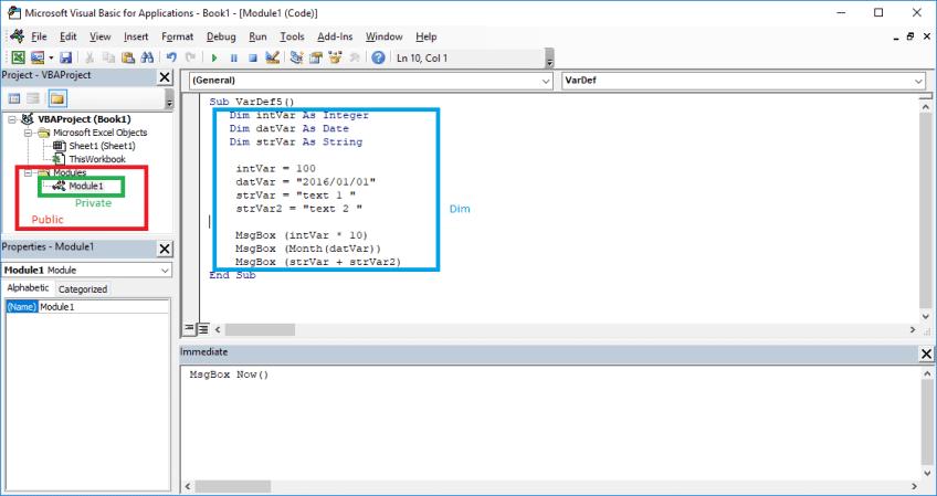 Excel VBA course - VBA Variables. Private, public, dim declaration types