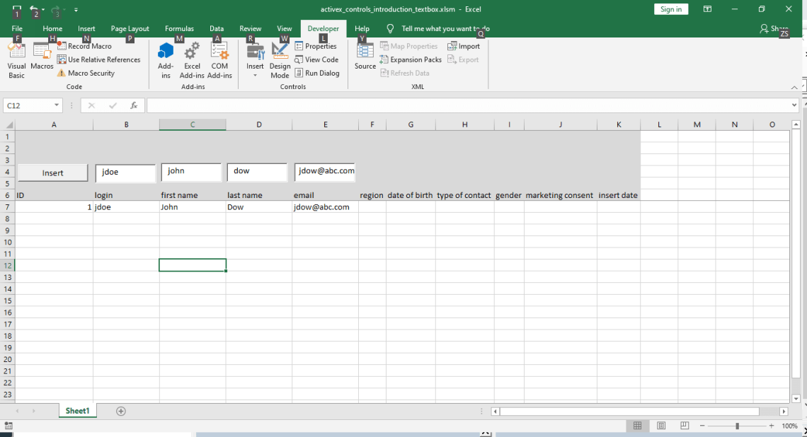 VBA TextBox: Entering unique values in the login field