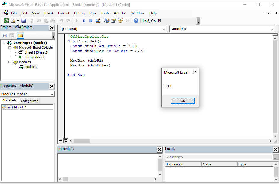 Constant values in VBA - what is it?