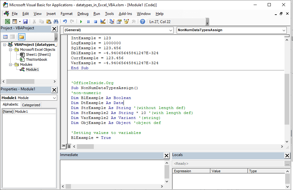 Introduction to data types in Excel VBA