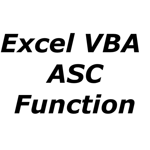 Excel VBA ASC function