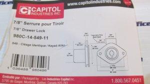 Capitol 980C Drawer Lock 7/8 Inch