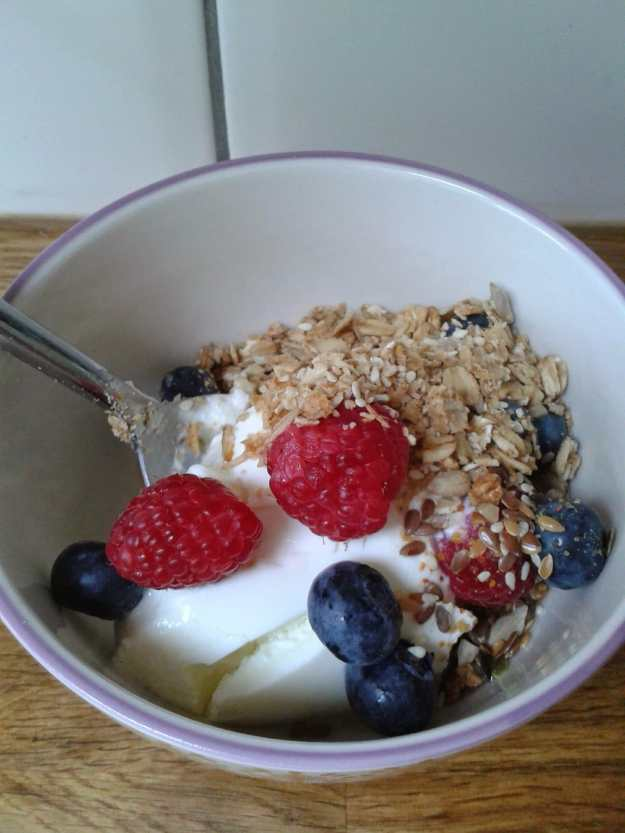 Office mum - granola and yogurt and fruit