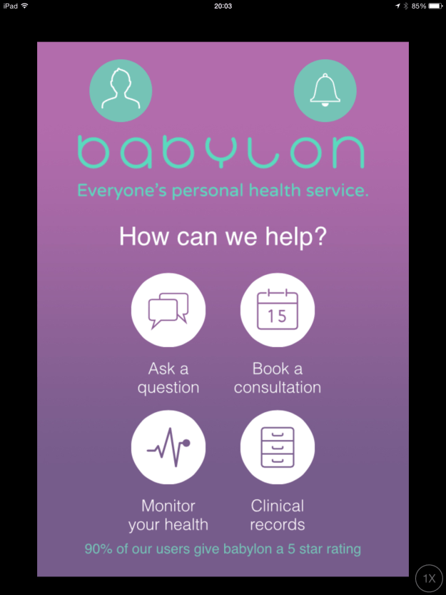 Babylon Health main screen - Office Mum