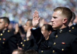 A new 2nd Lt takes the oath