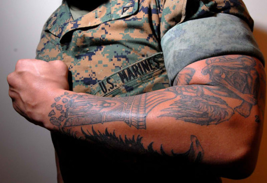 USMC sleeve tattoo