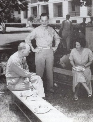 Marine Lt Gen Lem Shepherd (seated) with Col Chesty Puller and Mrs. Virginia Puller at a 4th of July barbecue at the Marine barracks, TH Hawaii, July 4 1950.