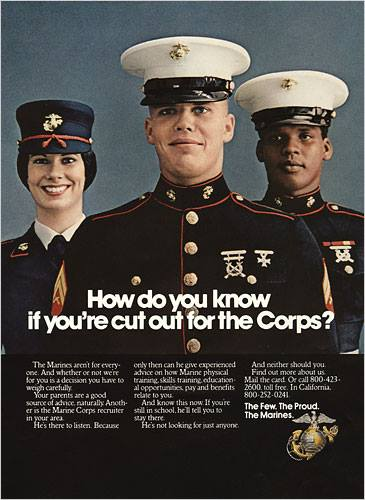 """Marine Corps recruiting poster """"How do you know if you're cut out for the Corps?"""""""