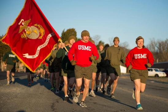 Students of U.S. Marine Corps Officer Candidates School (OCS) OCC-224 are lead by the OCS Commanding Officer Col. Julie L. Nethercot, in a motivational run prior to commencing liberty with their families at OCS, Marine Corps Base Quantico, Va., March 17, 2017. (U.S. Marine Corps photo by Staff Sgt. Sarah R. Hickory)