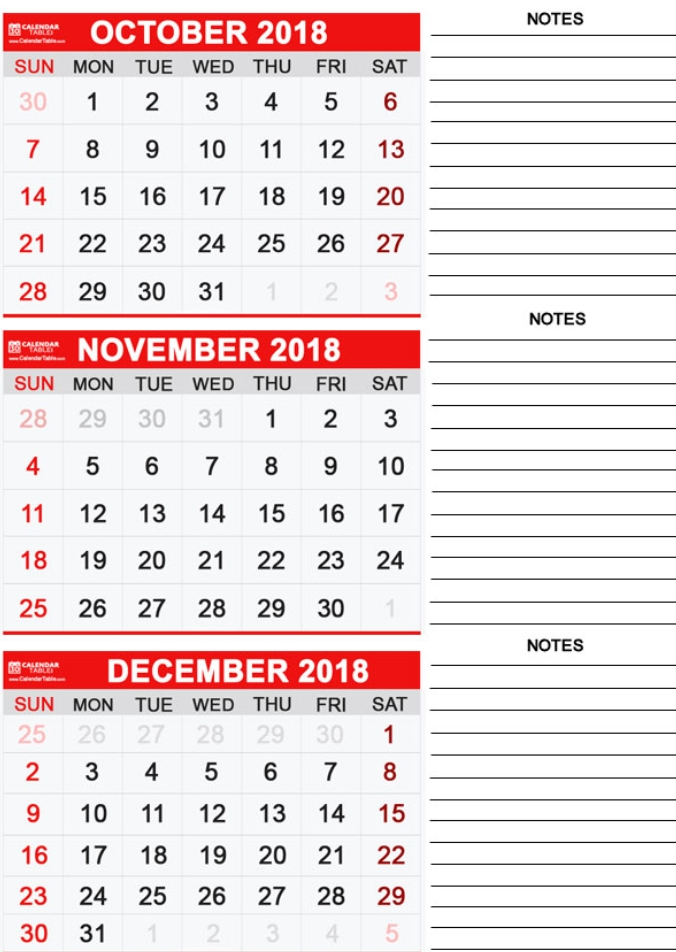 Three-Monthly Calendar