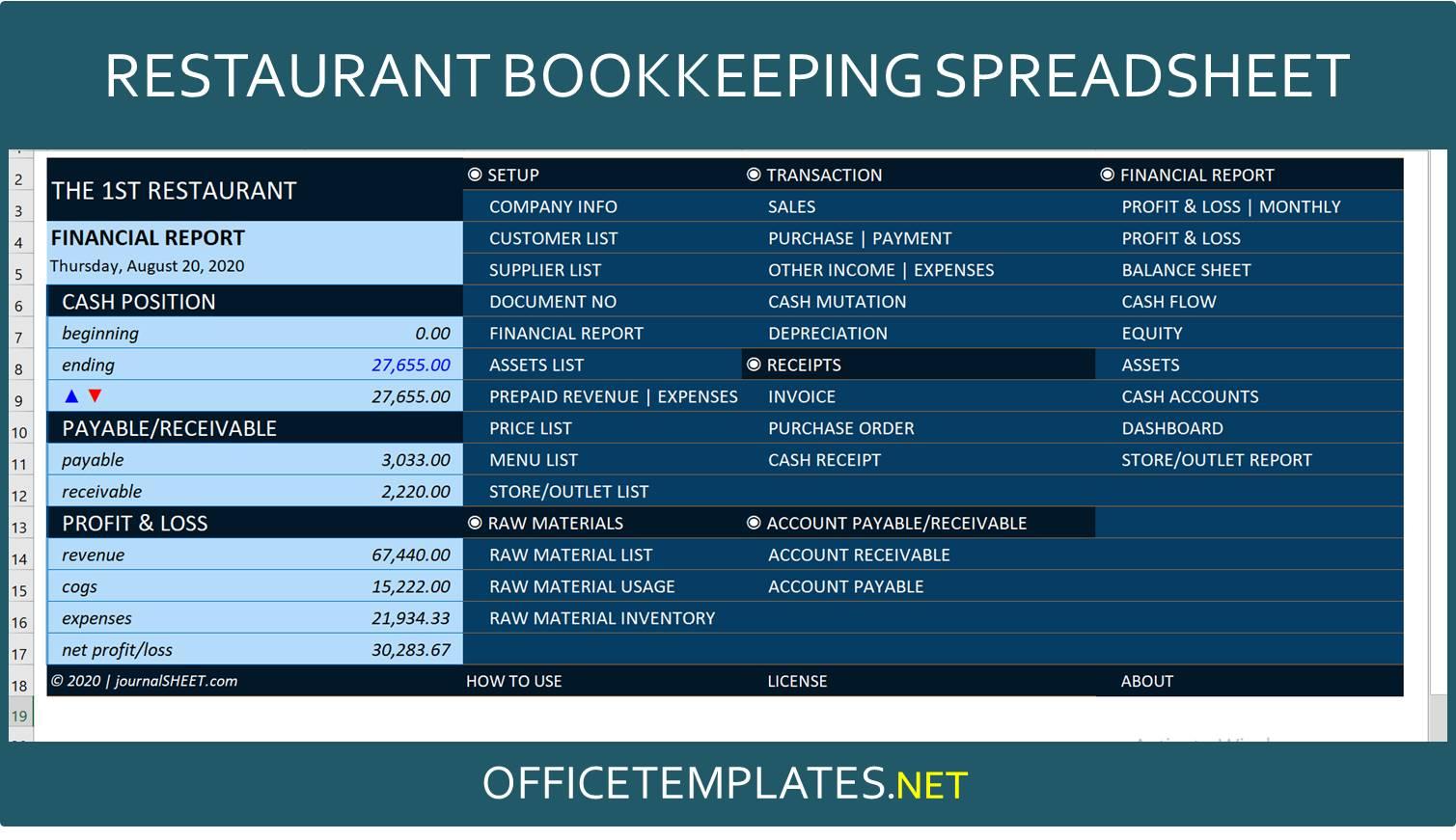 Restaurant Bookkeeping Template Officetemplates