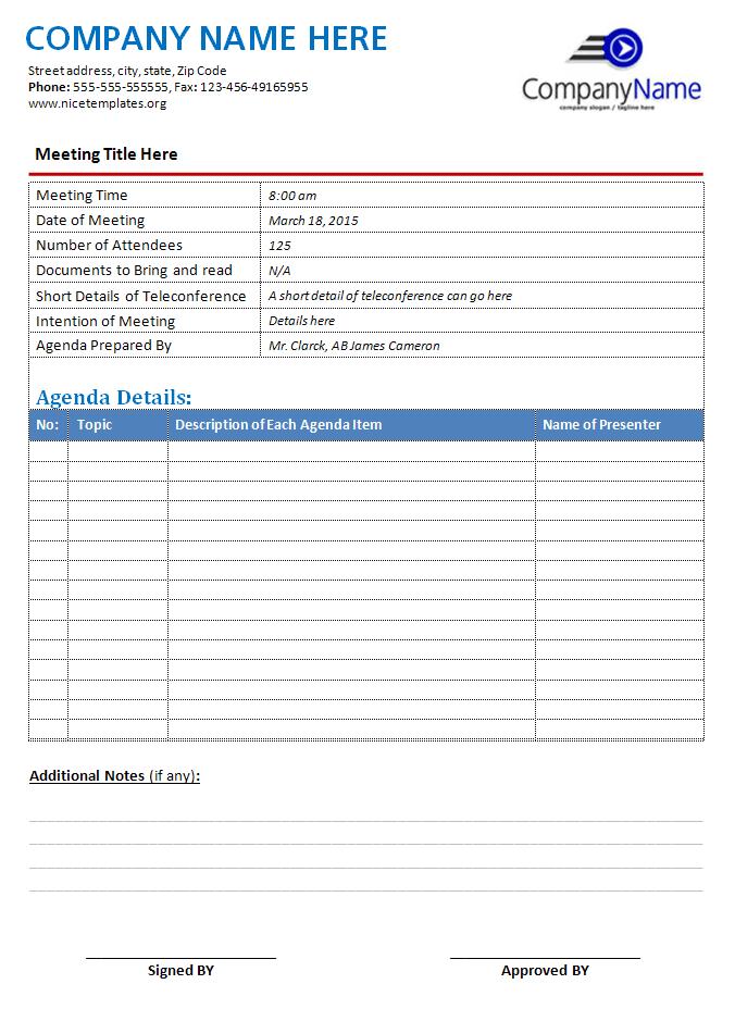 ms word agenda templates