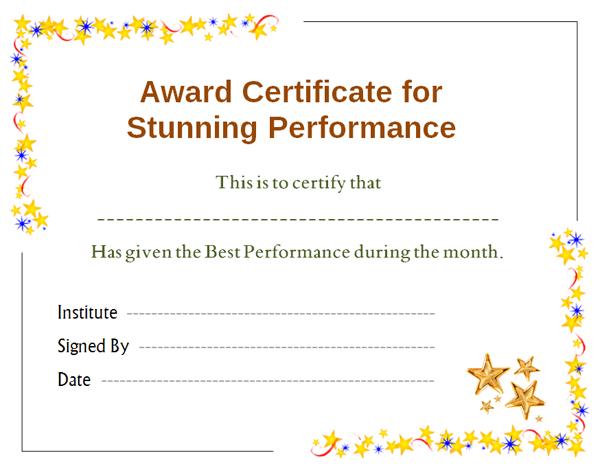 top performer award templates