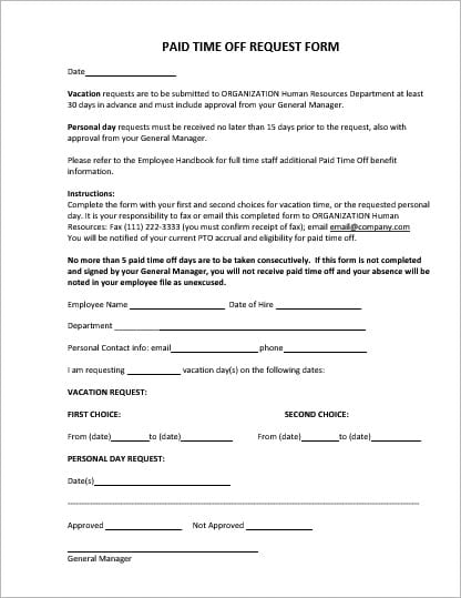 Employee Vacation Leave Request And Pto Forms Office Templates Online