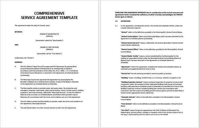 """This service contract (this """"agreement"""" or this """"service contract""""), effective as of date, is made and entered into by and between customer name, a company organized and existing in state, with offices located at address (hereinafter the """"customer""""), and contractor name, a state company, with a registered. Download Comprehensive Service Agreement Template"""