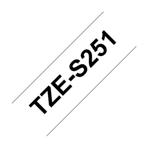 BROTHER TZe S251 tape 24 mm, Sort tekst på Hvid stærkt