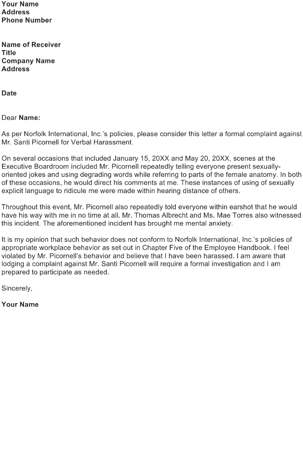 Formal Complaint Letter Template Workplace Bullying