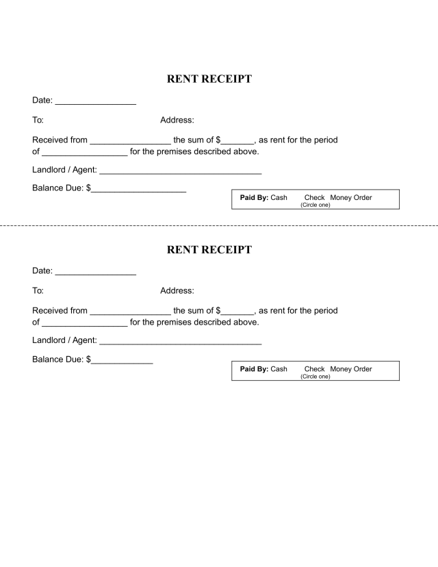 Printable Rent Receipt Template - FREE Download