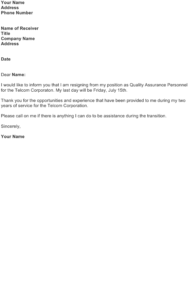 Letter of Resignation  Download FREE Business Letter Templates Forms Menus Certificates and
