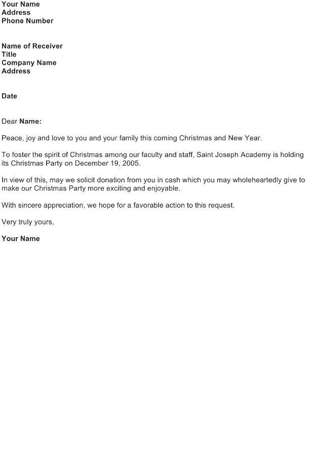 Baran Solicitation Letter Sample on