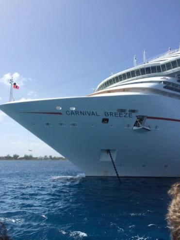 carnival cruise line breeze cruise ship bow