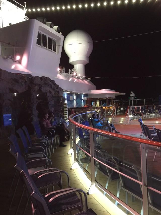 Norwegian cruises escape cruise ship aft night time