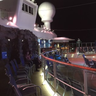 Norwegian cruises escape cruise ship aft night time
