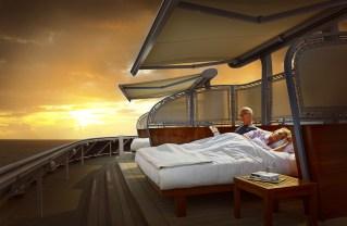 Residensea cruises The World cruise ship balcony bed