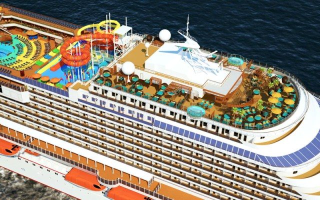 Carnival Cruises Vista cruise ship aerial view top deck