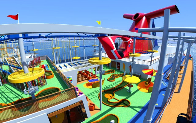 Carnival Cruises Vista cruise ship skyrider track with red bike