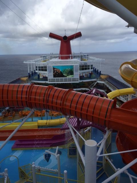 Carnival Cruises Vista cruise ship top view of ocean