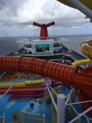 Carnival Cruises Vista cruise ship top view of ocean